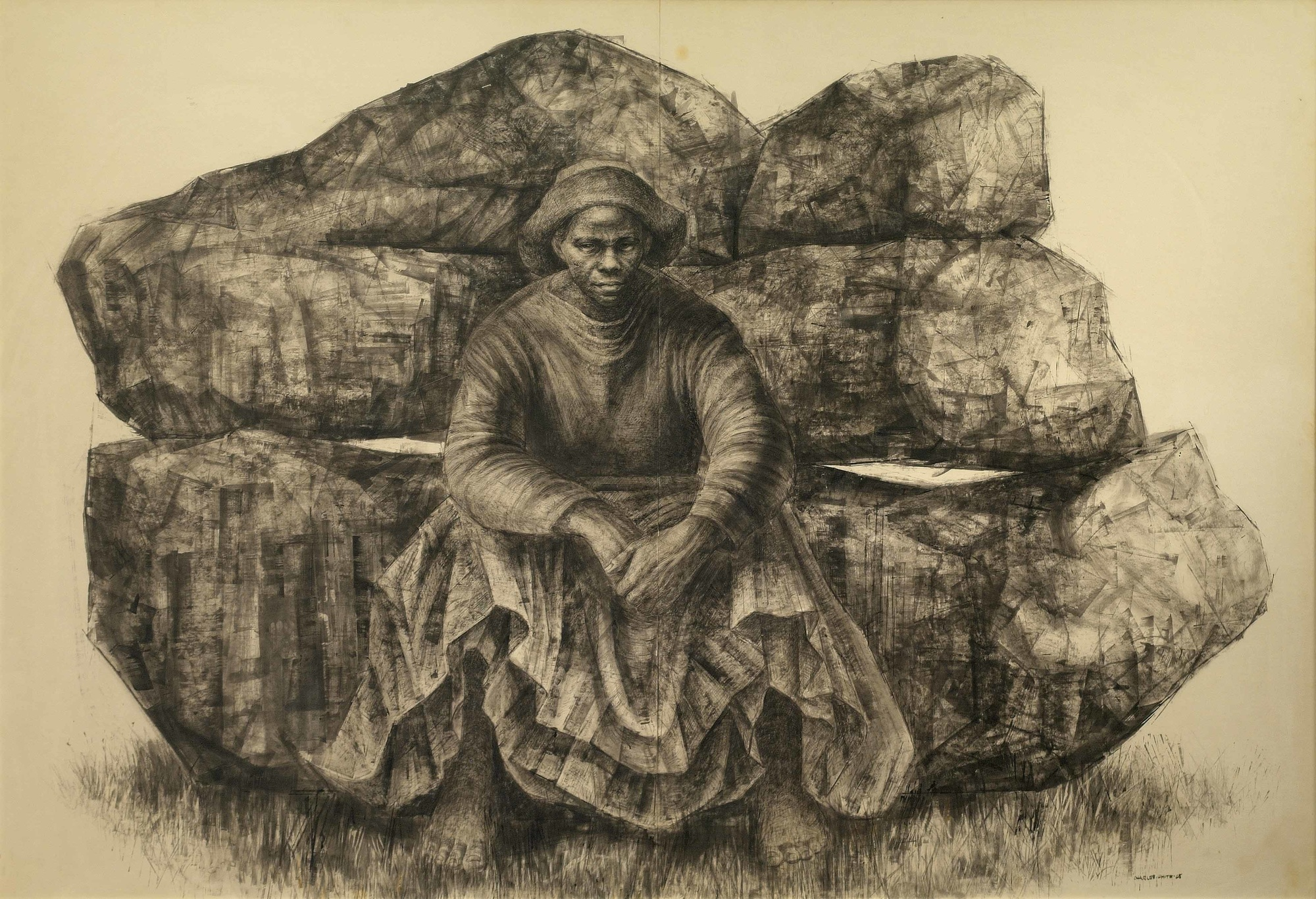 Charles White (American, 1918–1979). General Moses (Harriet Tubman). 1965. Ink on paper, 47 × 68