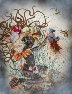 Wangechi Mutu, The Bride Who Married a Camel_s Head, 2009. Mixed media, ink, and collage on Mylar, 106.7 x 76.2 cm. © Wangechi Mutu and Susanne Vielmetter Los Angeles Projects. Photo-