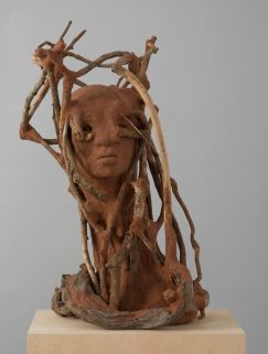 WANGECHI MUTU The Sticks, 2016 red soil, paper pulp, wood, and wood glue 27.5 x 17 x 16 inches 69.9 x 43.2 x 40.6 cm Photo- David Regen, NYC. Courtesy the artist, Lehmann Maupin, Hong Ko