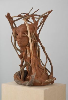 WANGECHI MUTU The Sticks (alternate view), 2016 red soil, paper pulp, wood, and wood glue 27.5 x 17 x 16 inches 69.9 x 43.2 x 40.6 cm Photo- David Regen, NYC. Courtesy the artist, Lehman