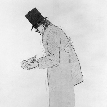 Reproduction of portrait of Charcot, whole length, standing, wearing top hat and surgical apron, holding brain, Wellcome Library, London.